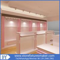 China Factory OEM Supplier mdf  wooden  in pink white lacquer Baby Girl Clothing Stores display furnitures wholesale