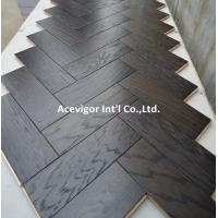 China High-end customized White Oak Parquet Herringbone (stained wenge color) wholesale