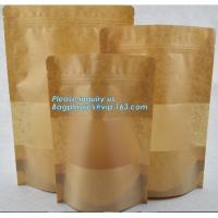 China Square Bottom Gusseted Resealable Kraft Paper Stand Up Pouch Rice Packaging Bag With Zipper And Window BAGEASE PACKAGE on sale