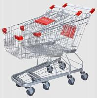 China Supermarket Steel Wire Shopping Trolley Cart With 4 PU Wheels on sale