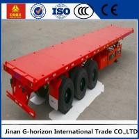 China Tri Axle Flatbed 40 FT Container Long Flatbed Trailer Green Red Yellow White Blue Color wholesale