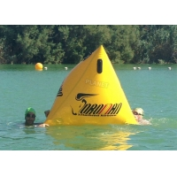 China Triathlon Race 1.2m Yellow Triangle Inflatable Marker Buoy With Logo wholesale