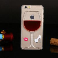 China 3D Liquid Flow Red Wine Glass Cocktail Bottle Case Cover For iPhone 5s 6 6 plus wholesale