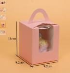 Custom printed cupcake box packaging cardboard cake box with handle,china best