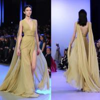 China Deep V Sexy Back High Slit Long Style Evening Dresses For Women , Banquet Chiffon Dress on sale