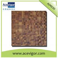 China Artistic wood mosaic tiles with uneven surface for wall decoration wholesale