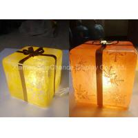 China Compact Transparent Decoration Yellow Resin Christmas Gift Box With Light Inside wholesale