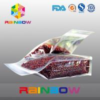 Quality Plastic transparent bottom gusset ziplock beans / food packaging bags for sale