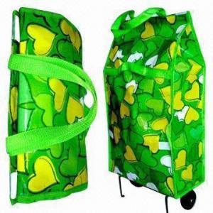 China Love Print Lightweight Folding 2-wheel Shopping Trolley/Bag, Measuring 33 x 17 x 58cm wholesale