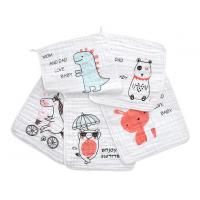 China Square Face Organic Cotton Muslin Washing Cloth With Print In 6 Layers wholesale