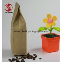 China Quad Side Sealing Flat Bottom Kraft Paper Bags for Coffee Bean / Tea Packing wholesale