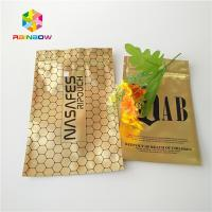 China Matte Glossy Ziplock Plastic Bags Packaging Metallic Gold Foil Sachet For Cbd Kratom wholesale