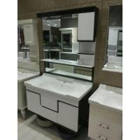 China black and white High Grade PVC Bathroom Cabinet , Mirrored Bathroom Vanity With Sink wholesale