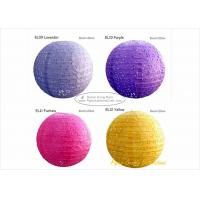 China 35cm Eyelet Pink Round Paper Lanterns with Metal Wire material 14 inch wholesale