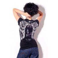China Womens bling bling tshirt angels wings printing and stones for summer wholesale