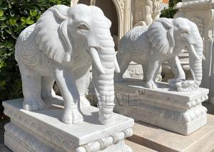 China White Marble Elephant Statues Life Size Animal Sculpture Natural Stone Garden Decoration wholesale