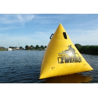 China Triathlon Race 1.5m Yellow Custom Logo Floating Triangle ShapeInflatable Marker Buoy For Water Event wholesale