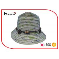 China Fresh Color Wide Brimmed Large Straw Hats , Nylon Rope Sun Protection Hats wholesale