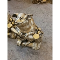 China Holiday Gift Desk Copper Art Sculpture Decoration Cast Lucky Pig Brass Animal Sculptures wholesale