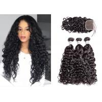 Buy cheap Black 3 Hair Bundles With Closure , Woman Brazilian Virgin Hair Water Wave from wholesalers