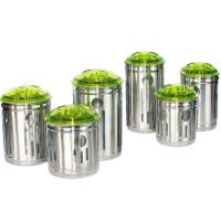 China Stainless Steel Canister Set with Colorful Acrylic Lids on sale
