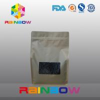 China Kraft paper 8 side seal coffee pouch , bottom gusset bags roasted coffee bean packaging wholesale