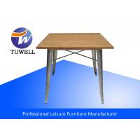 China Outddor Tolix Marais Table Steel Legs With Teak Wood Top Powder Coating wholesale
