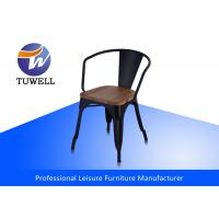 China Fully Assembled Strong Marais Metal Tolix Chairs With wooden Seat Stackable wholesale