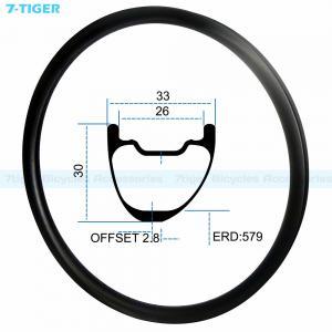 China 7-tiger carbon mountain bicycle wheel rim 29 er asymmetric offset XC bike 30 x 33 mm Tubeless Compatible wholesale