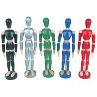 China Life - Sized Wooden Drawing Figure Model , Colourful Flexible Poseable Art Mannequin wholesale