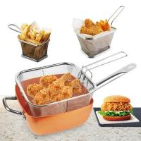 China Kitchen Tool Stainless Steel Wire Mesh Air Fryer Fast Food Serving Strainher Basket Mini Frenc  Fry Basket wholesale