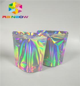 China Mylar Hologram Zipper Customized Paper Bags For Eyelash Glue Cosmetics Products wholesale