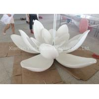 China Sunproof Lotus Flower Resin Garden Statues , Outdoor Fiberglass Statues Color Painted wholesale