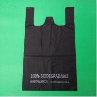 China 100% biodegradable and compostable shopping bag, black color, size 0.025mm x (30+15)x50cm, withstand 5kg wholesale
