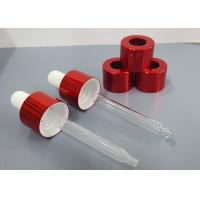 China 20/410 red aluminum dropper  cap with glass or plastic pippete for cosmetic oil wholesale