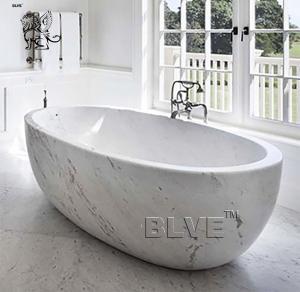 China large Freestanding Marble Bathtub Natural Carrara Stone For Bathroom wholesale