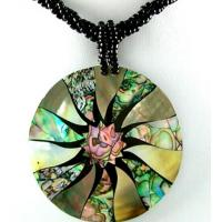 China Abalone Cross Necklace with Beads on sale
