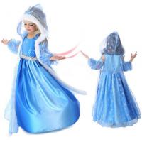 China 2015 Frozene Elsa Jurk Anna Party Dress Christmas fur Hooded Snow Printed Cosplay Custom Baby Girl Reine Des Neiges wholesale