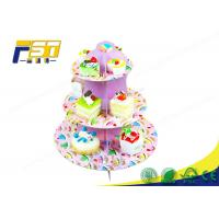 China CMYK Printing Pop Design Cardboard Tiered Cake Stand Durable For Shopping Mall wholesale