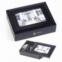 China Square-shaped Wooden Jewelry Box with Photo Frame Lid wholesale
