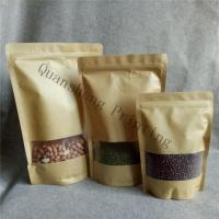 China Moisture Proof Stand Up Zipper Kraft Paper Bags With Window For Tea / Coffee bean / Dried fruits wholesale