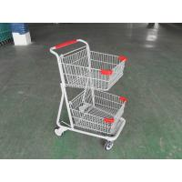 Two Basket Grocery Shopping Trolley , Collapsible Retail Shopping Trolleys