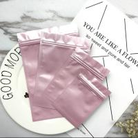 China Pink Color Printed Heat Seal Reusable Zipper Small Plastic Bags With Euro Hole for Makeup Tools Packaging on sale