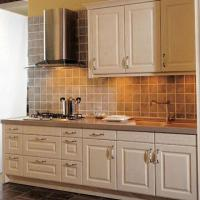 White wooden kitchen cabinet with america standard design for Standard white kitchen cabinets