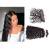 China 100%  Water Wave Hair Bundles With Frontal Closure Machine Double Weft wholesale