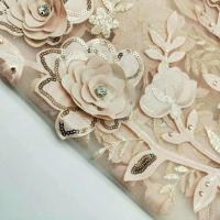 Quality 3D Flower Embroidered Lace Fabric , Sequin Lace Mesh Fabrics For Fashion Dresses for sale