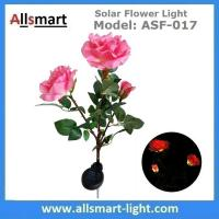 China 3LED Pink Solar Powered Rose Flower Light Outdoor Lamp Stake for Home Garden Yard Lawn Pathway Party Decor Landscape wholesale