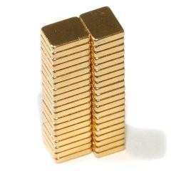 China N42 F5x4x1mm Gold Coating Neodymium Magnet Block Neodymium Magnets wholesale