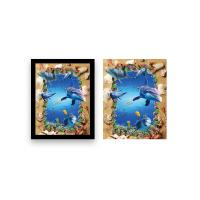 Quality Home Decoration 3D Lenticular Printing Service 12x16 Inch Framed Dolphin Picture for sale