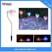 China Outdoor Stainless Steel LED Solar spike Path Way Light RGB Diamond Garden Lawn Landscape Lamp wholesale